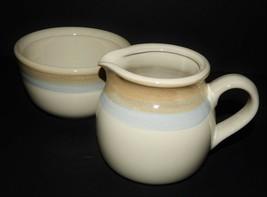 Noritake Painted Desert 8603 Stoneware Cream Pitcher Sugar Bowl Tan Blue Rings - $35.63