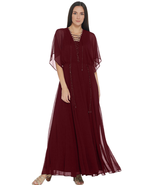 Laurie Felt 14 Regular Boho Chic Maxi Dress Sheer Lace Up Burgundy - $55.81