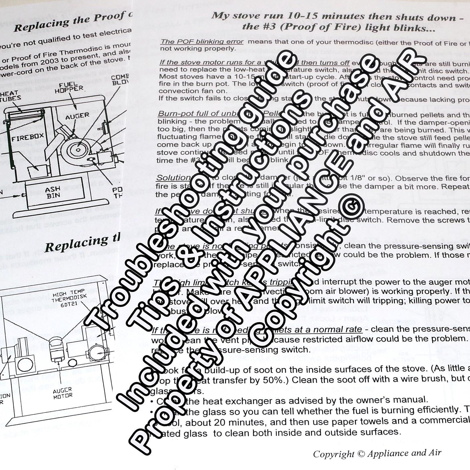 Breckwell Pellet Stove High Limit High Temp C-E-090-21 + POF C-E-090-22C +instr.