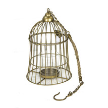 Elegant Bird Cage Metal Hanging Lantern, Gold - $78.37