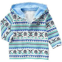 NWT Gymboree Fair Isle Baby Girls or Boys Blue Bell Print Hoodie, 0-3 Months - $14.84