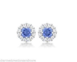 Bella Bridal Halo 2.52ct Cubic Zirconia March Birthstone Stud Earrings - $19.79