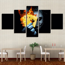 Clown Flame Playing Card  5 Piece Canvas Art Wall Art Picture Home Decor - $24.00+