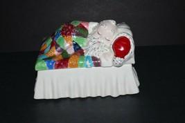 Vintage Alberta Molds Patchwork Blanket Sleeping Santa Ceramic Trinket B... - $39.60