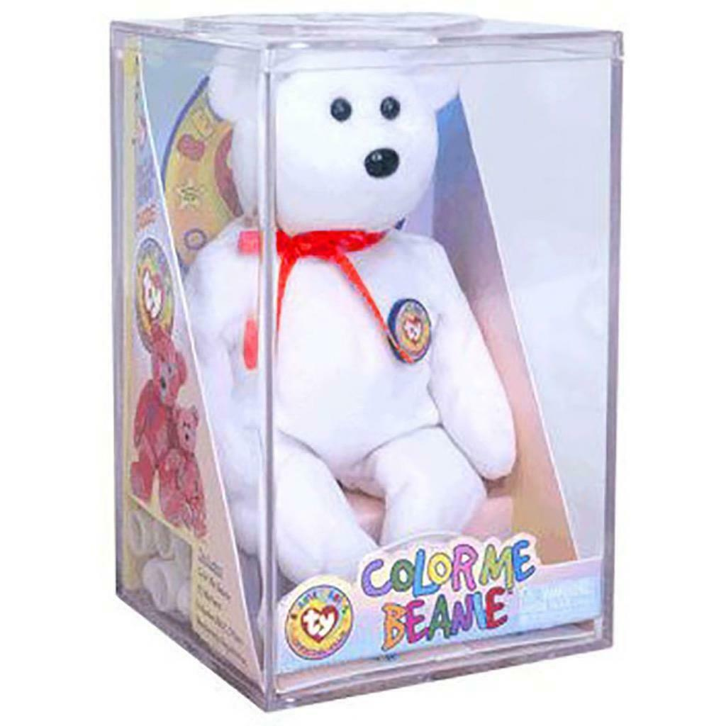 Primary image for Official Color Me Beanie Teddy Bear Ty Beanie Baby BBOC Kit in Clear Case MWMT