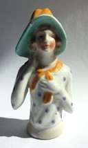 Vintage Half Doll for Pin Cushion Porcelain Woman in Hat Bonnet Japan - $23.95