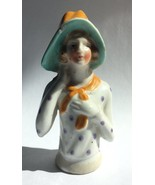 Vintage Half Doll for Pin Cushion Porcelain Woman in Hat Bonnet Japan - $23.95