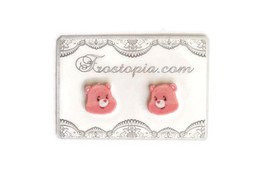 Cheer Care Bear Cartoon Pink Earrings Plastic Post Handmade New - $6.00
