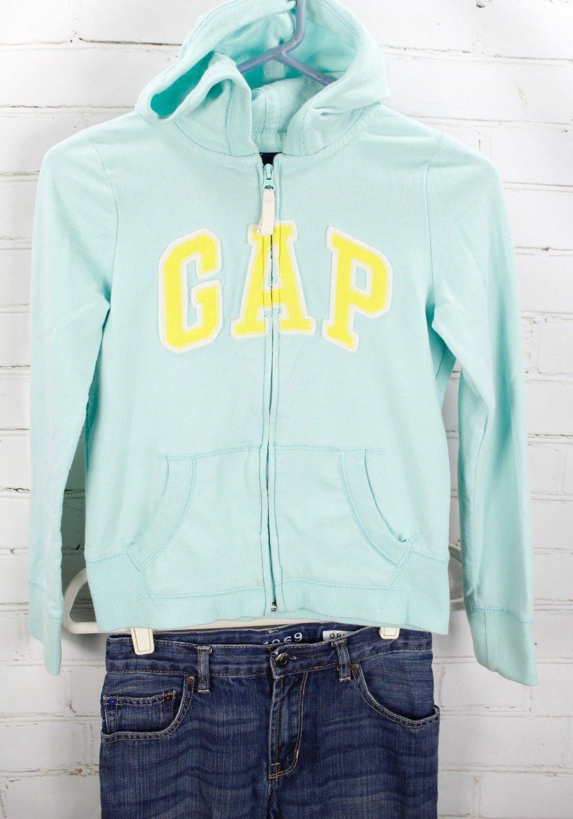 Gap Kids Logo Full Zip Hoodie Sweatshirt + Jeans Girls Size L 10 Outfit Set  image 2