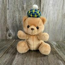 Vintage Teddy Bear Plush McDermott Russ Scott Stuffed Animal Plaid Blue Yellow - $33.65