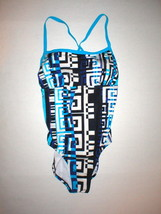 New Womens 12 Nike Swimsuit One Piece Black Blue White Cool Geometric De... - $72.00