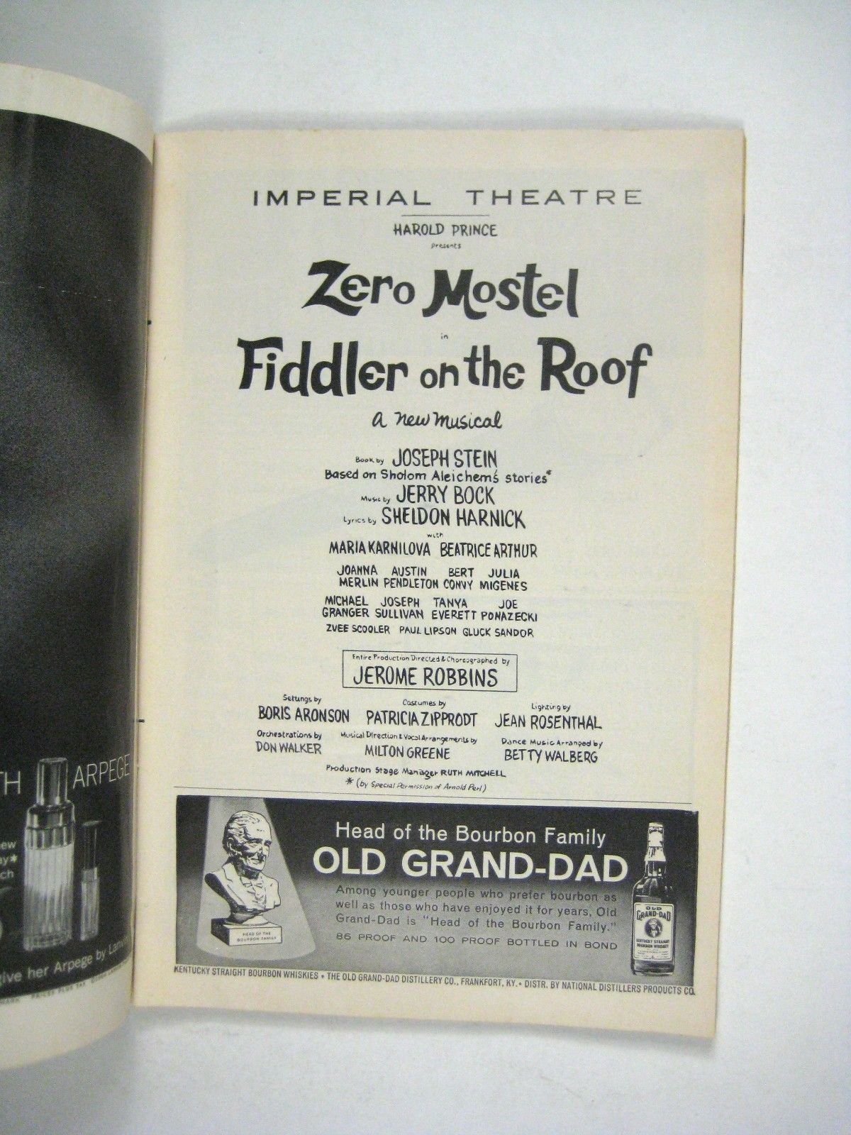 Fiddler on Roof Playbill Imperial Theatre 1964 Zero Mostel Beatrice Arthur