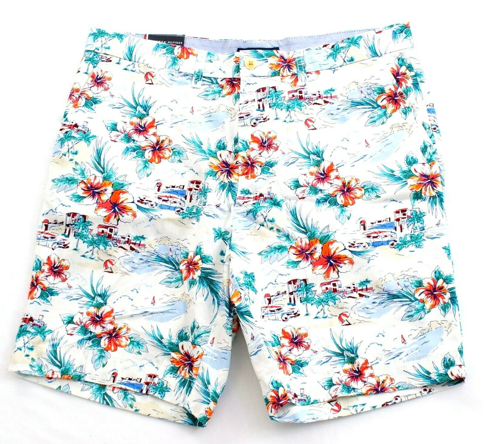 Tommy Hilfiger Tropical Floral Print Flat Front Cotton Shorts Men's NWT