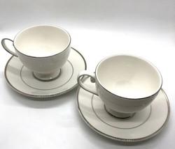 SET of 2 Mikasa Ultima Cameo Platinum MK 301 Tea Cup and Saucer Fine China - $12.82