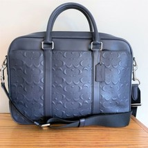 Coach Perry Slim Brief Laptop Briefcase ~ Midnight Signature Embossed NW... - $194.95