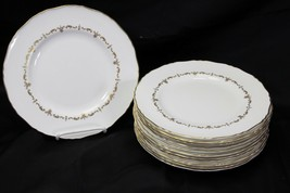 """Royal Worcester Gold Chantilly Luncheon Plates England 9"""" Set of 12 - $342.99"""