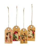 Vintage Joyful Christmas Tags Gift Wrapping 4/set primitive old-fashioned  - $9.99