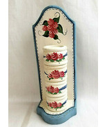Hand Painted Wood Wooden 4 Napkin Rings & Holder Rose Design Country Pin... - $24.99
