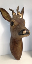 Antique German wood carved deer head black forest hunting cabin deco - $380.00