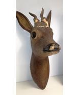 Antique German wood carved deer head black forest hunting cabin deco - $380.00