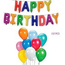 Happy Birthday Colorful Mylar Letter Balloon Banner Bundle 144 Pcs.Ballo... - $11.29