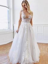 Vintage Princess Beach Bridal Gowns Deep V-neck Lace Appliqued Backless Dress image 3