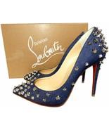 Christian Louboutin Studded Aimantaclou 100 Pumps Denim Blue Heels Shoes... - $499.99