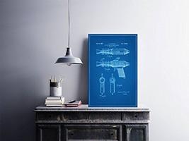 "Space Pistol Patent - Blueprint Style - Art Print - 18"" tall x 12"" wide - $16.00"
