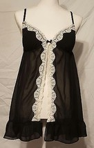 NWOT Gilligan & O'Malley Sexy Black w/ White Lace Sheer Babydoll Size Large - $14.01