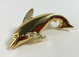 VINTAGE DOLPHIN RHINESTONE Fins Gold Tone BROOCH PIN - $7.70