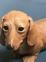 Dachshund figurine Wiener Dog By Sandra Brue 1984 Sandicast 10.75 inch  - $68.44