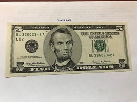 USA United States $5.00 banknote uncirculated 1999 #3 - $12.95