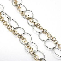 SILVER 925 NECKLACE, DOUBLE CHAIN ROLO', WHITE AND YELLOW, OVAL FRINGE, HANGING image 4