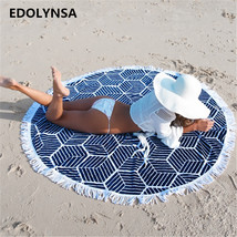 New Arrivals Round Beach Blanket With Tassel Yoga mat Mandala Blanket Be... - $747,75 MXN