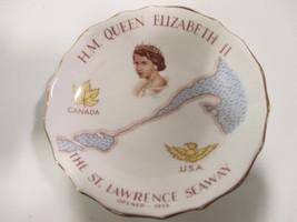 Vintage  Plate HM Queen Elizabeth The St Lwrence Seaway 1959 Tuscan Bone... - $24.74