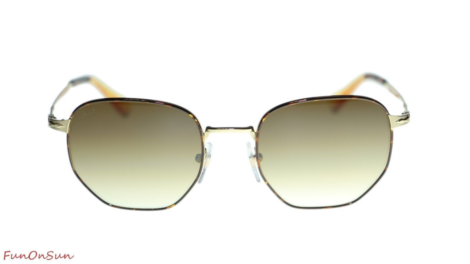 fcdd60ac84 Persol Irregular Sunglasses PO2446S 107551 Havana Gold Clear Gradient Brown  52mm