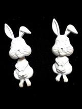 Vintage White Enamel Dangling 2Pc bunny rabbit  earrings - $4.99