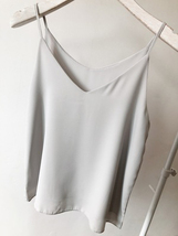 LIGHT GRAY Sleeveless Chiffon Tops Light Gray Chiffon Wedding Bridesmaid Tanks