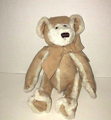 """Bath & Body works suede brown tan cream gingerbread teddy bear plush 8""""-9"""" - $9.89"""