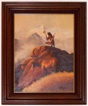 Vintage Native American Warrior Oil Painting by... - $1,500.00