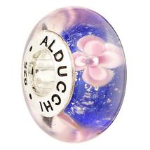 Alducchi Blue - Pink Floral  Murano Glass .925 Silver European Charm Bead. - $15.95