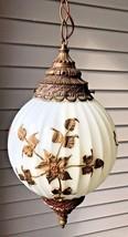 Vintage Deena White Ivory Glass Bronze Tone Leaves Globe Ornate Swag Lamp - $89.95