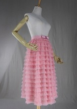 Blush Tiered Midi Tulle Skirt Blush Bridesmaid Skirt Outfits Tulle Puffy Skirts image 5