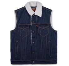 New Levi's Men's Premium Button Up Sherpa Fleece Lined Multi Pocket Denim Vest image 6