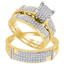10kt Yellow Gold His & Her Round Diamond Cluster Matching Bridal Wedding Ring Se - £651.31 GBP