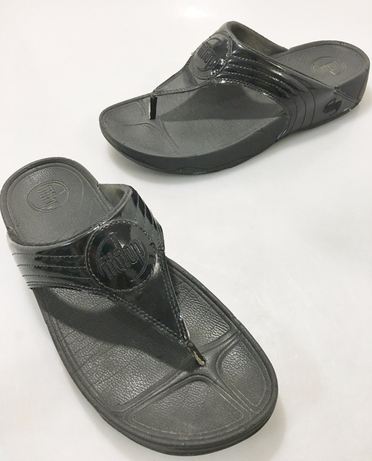 c4d7b849cad847 S l1600. S l1600. Previous. FitFlop Womens 9 US Walkstar Black Patent Leather  Sandals Flip-Flops Slides