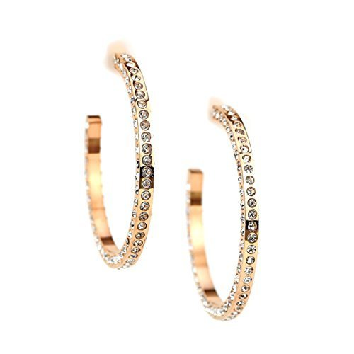 UNITED ELEGANCE Rose Tone Hoop Earrings With Sparkling Swarovski Style Crystals