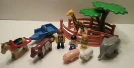 Playmobil Toy Lot Animals Figures Tree Cart Fence Mixed Lot  - $8.59