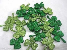 (24) St Patricks Day Green Glitter Shamrocks Tabletop Decor Decorations - $14.99