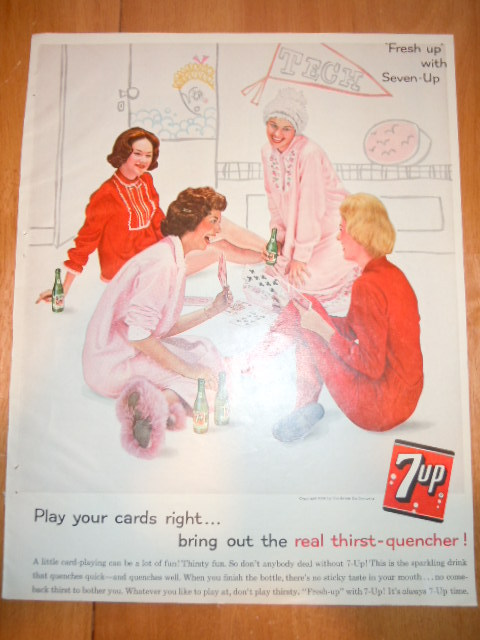 Vintage 7-up Slumber Party Card Playing Print Magazine Advertisement 1961 - $6.99